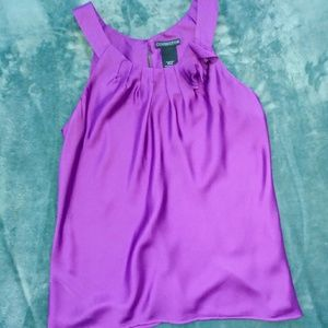 Purple silky shiney tank blouse rose accent fits L
